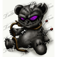 black-evil-teddy-bear-tattoo-design